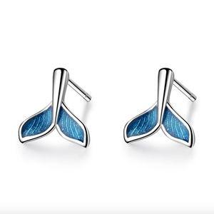 Mermaid Tail Fish Tail Blue Enamel Stud Earrings
